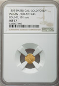 1852-Dated California Gold Token, Indian - Wreath #4b, Round, MS67 NGC. 10.1 mm