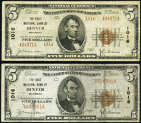 Denver, CO - $5 1929 Ty. 1 and Ty. 2 Pair The First National Bank Ch. # 1016. ... (Total: 2 notes)