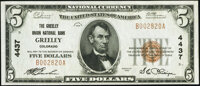 Greeley, CO - $5 1929 Ty. 1 The Greeley Union National Bank Ch. # 4437 Crisp Uncirculated