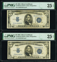 Fr. 1650 $5 1934 Silver Certificate. E-A Block. Two Examples. PMG Very Fine 25 EPQ. ... (Total: 2 notes)