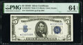 Fr. 1654* $5 1934D Silver Certificate. PMG Choice Uncirculated 64 EPQ
