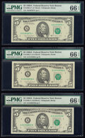 Small Size:Federal Reserve Notes, Fr. 1980-A $5 1988A Federal Reserve Note. PMG Gem Uncirculated 66 EPQ (2);. Fr. 1980-A* $5 1988A Federal Reserve Note. PMG... (Total: 3 notes)