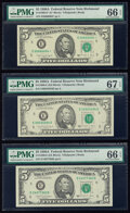 Small Size:Federal Reserve Notes, Fr. 1980-E (2) $5 1988A Federal Reserve Notes. PMG Superb Gem Unc 67 EPQ; Gem Uncirculated 66 EPQ.. Fr. 1980-E* $5 1988A F... (Total: 3 notes)