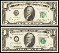Fr. 2010-H $10 1950 Narrow Federal Reserve Note. About Uncirculated; Fr. 2022-L $10 1974 Federal Reserve Note. Gem Crisp...