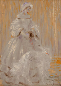 Louis Icart (French, 1888-1950) Feuilles d'Automne Oil on board 8-5/8 x 6-3/8 inches (21.9 x 16.2