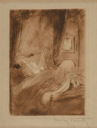 Louis Icart (French, 1888-1950) Under the Covers, from La Nuit et le Moment, 1946 Etching in colors on paper 8 x