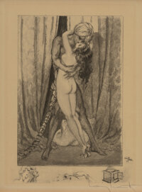 Louis Icart (French, 1888-1950) Embrace Before the Drapes, from Le Sopha Etching and aquatint on wove paper 9-1/2