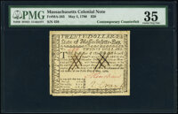 Massachusetts May 5, 1780 $20 Contemporary Counterfeit PMG Choice Very Fine 35