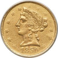 1850 $5 Baldwin Five Dollar -- Scratched, Cleaned -- ANACS. XF40 Details. K-2, R.5....(PCGS# 10025)