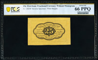 Fr. 1282SP 25¢ First Issue Wide Margin Back PCGS Banknote Gem Unc 66 PPQ
