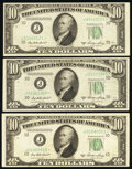 Small Size:Federal Reserve Notes, Fr. 2011-J* $10 1950A Federal Reserve Star Notes. Three Examples. Very Fine.. ... (Total: 3 notes)