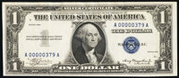 Low Serial Number 379 Fr. 1607 $1 1935 Silver Certificate. Extremely Fine