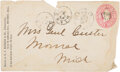 Autographs:Military Figures, George Armstrong Custer: Signed Envelope to His Wife....