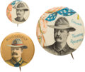 Political:Pinback Buttons (1896-present), Theodore Roosevelt: Three Rough Rider Buttons. ...