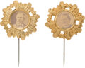 Political:Ferrotypes / Photo Badges (pre-1896), Rutherford B. Hayes and Samuel J. Tilden: Pair of Cardboard Stickpins.... (Total: 2 Items)
