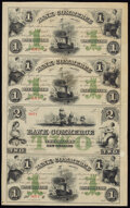 New Orleans, LA- Bank of Commerce $1-$1-$2-$1 May 5, 1862 G42a-G42a-G48a-G42a X1 Uncut Remainder Sheet Very Fine