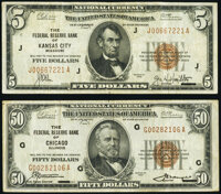Fr. 1850-J $5 1929 Federal Reserve Bank Note. Fine-Very Fine; Fr. 1880-G $50 1929 Federal Reserve Bank Note. Fine-Very F...