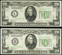 Fr. 2055-B; L $20 1934A Mule Federal Reserve Notes. Very Fine-Extremely Fine. ... (Total: 2 notes)