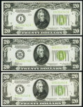 Small Size:Federal Reserve Notes, Fr. 2054-A $20 1934 Federal Reserve Note. Extremely Fine;. Fr. 2054-B; I $20 1934 Light Green Seal Federal Reserve Notes. ... (Total: 3 notes)