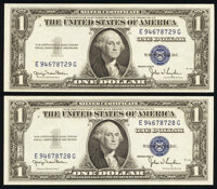 Fr. 1613W/1613N $1 1935D Wide/Narrow Silver Certificates. Changeover Pair. Choice Crisp Uncirculated. ... (Total: 2 note...