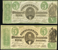 CT33 Counterfeits $5 1861 Fine-Very Fine. CT33/250A; CT33/250D. ... (Total: 2 notes)