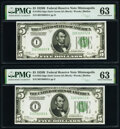 Fr. 1952-I $5 1928B Federal Reserve Notes. Two Consecutive Examples. PMG Choice Uncirculated 63. ... (Total: 2 notes)