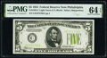 Small Size:Federal Reserve Notes, Fr. 1955-C $5 1934 Federal Reserve Note. PMG Choice Uncirculated 64 EPQ.. ...