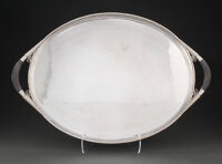 A Georg Jensen Silver and Ebonized Wood No. 251C Cosmos Tray Designed by Johan Rohde