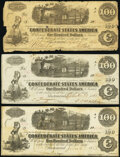 Confederate Notes:1862 Issues, H. McD. McElrath Maj. & QM Issue Stamp T40 $100 1862 Fine;. T40 $100 1862 Two Examples Very Good-Fine or Better.. ... (Total: 3 notes)