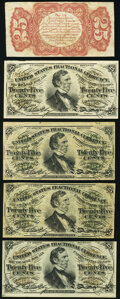Fr. 1291SP 25¢ Third Issue Narrow Margin Back Extremely Fine; Fr. 1294 25¢ Third Issue Two Examples Very Fine...
