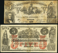 Confederate $5 1861 Counterfeits. CT-31/245B Fine; CT-37/284A VG-Fine. ... (Total: 2 notes)