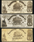 Confederate Notes:1861 Issues, Counterfeit CT-18 $20 1861.. CT-18/107A Choice AU;. CT-18/132A XF-AU;. CT-18/132B-1 Fine.. ... (Total: 3 notes)