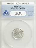 Bust Dimes, 1834 10C Small 4--Cleaned--ANACS. AU58 Details. JR-1. NGC Census:(33/148). PCGS Population (22/80). Mintage: 635,000. Numi...