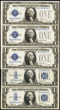 Fr. 1601 $1 1928A Silver Certificates. Three Consecutive Examples. Choice Crisp Uncirculated; Fr. 1606 $1 1934 Silver Ce...