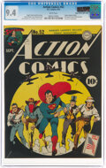 Golden Age (1938-1955):Superhero, Action Comics #52 Mile High Pedigree (DC, 1942) CGC NM 9.4 White pages....