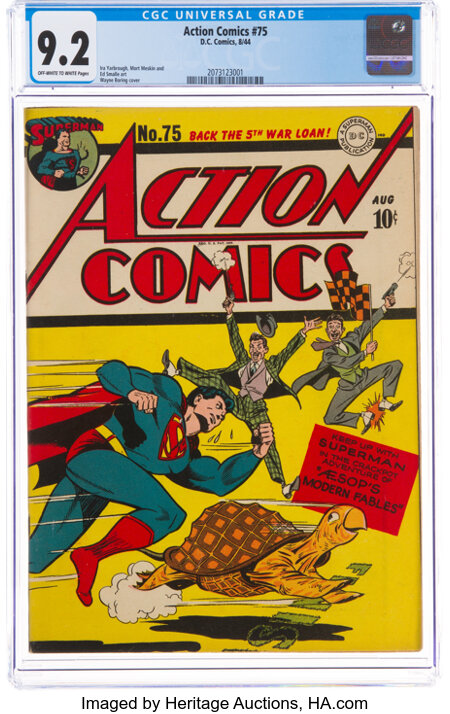 Action Comics #75 (DC, 1944) CGC NM- 9.2 Off-white to white pages....