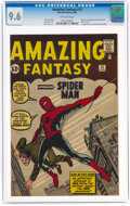 Silver Age (1956-1969):Superhero, Amazing Fantasy #15 (Marvel, 1962) CGC NM+ 9.6 Off-white pages....