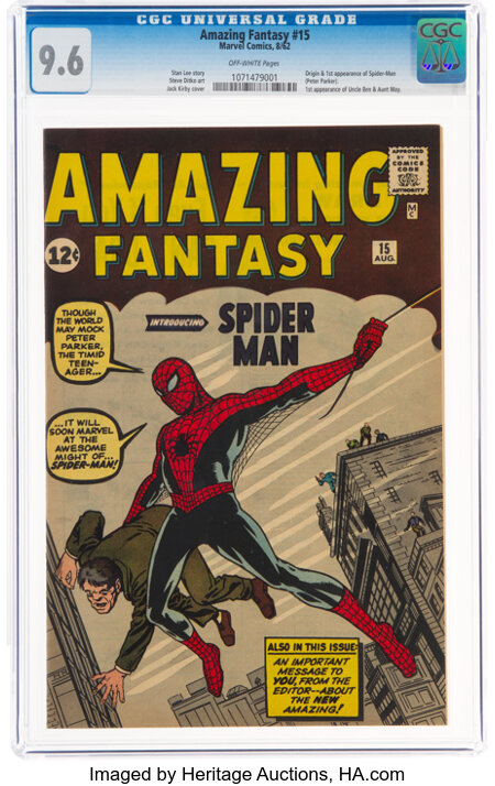 Amazing Fantasy #15 (Marvel, 1962) CGC NM+ 9.6 Off-white pages....