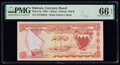 World Currency, Bahrain Currency Board 1 Dinar 1964 Pick 4a PMG Gem Uncirculated 66 EPQ.. ...