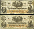 Confederate Notes:1862 Issues, CT41/319 Counterfeit $100 1862 Two Examples Fine.. ... (Total: 2 notes)