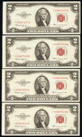 Fr. 1512* $2 1953C Legal Tender Star Notes. Four Consecutive Examples. About Uncirculated; Choice Crisp Uncirculated (3)...