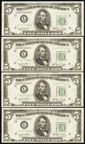 Small Size:Federal Reserve Notes, Fr. 1961-L $5 1950 Wide I Federal Reserve Notes. Four Examples. Choice Crisp Uncirculated.. ... (Total: 4 notes)