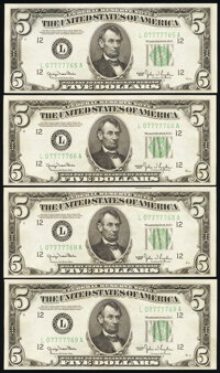 Fr. 1961-L $5 1950 Wide I Federal Reserve Notes. Four Examples. Choice Crisp Uncirculated. ... (Total: 4 notes)