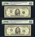 Small Size:Federal Reserve Notes, Fr. 1979-D; I; L $5 1988 Federal Reserve Notes. PMG Gem Uncirculated 66 EPQ (3).. ... (Total: 3 notes)