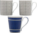 Luxury Accessories:Home, Hermès Set of Three: Mosaique and Bleus d'Ailleurs Mugs. Condition: 1. See Extended Condition Repor...