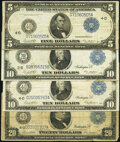 Large Size:Federal Reserve Notes, Fr. 859c $5 1914 Federal Reserve Note Fine-Very Fine;. Fr. 911a $10 1914 Federal Reserve Note Fine-Very Fine;. Fr. 919... (Total: 4 notes)