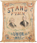 Political:Textile Display (pre-1896), Andrew Johnson: A Unique and Highly Important Banner from the Turbulent Era of Reconstruction Politics, with Quote from Abrah...