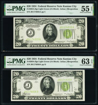 Fr. 2054-J $20 1934 Federal Reserve Notes. Two Consecutive Examples. PMG Graded About Uncirculated 55 EPQ; Choice Uncirc...