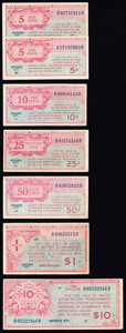 Military Payment Certificates:Series 471, Series 471 Military Payment Certificates Fine or Better.. 5¢ (2); 10¢; 25¢; 50¢; $1; $10.. ... (Total: 7 notes)