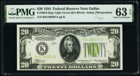 Fr. 2054-K $20 1934 Federal Reserve Note. PMG Choice Uncirculated 63 EPQ
